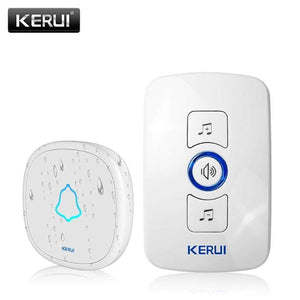 Oiko Store  1receiver 1doorbell-193 / EU Plug KERUI M525 Home Security Welcome Wireless Doorbell Smart Chimes Doorbell Alarm LED light 32 Songs with Waterproof Touch Button