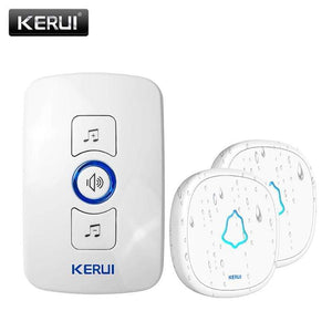 Oiko Store  1receiver 2doorbell-350850 / EU Plug KERUI M525 Home Security Welcome Wireless Doorbell Smart Chimes Doorbell Alarm LED light 32 Songs with Waterproof Touch Button