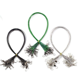 Oiko Store  20Pcs/lot Steel Wire Leader With Swivel Fishing Accessory 3 Colors Olta Leadcore Leash 15CM 20CM 30CM Fishing Line PJ57