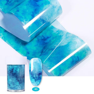 Oiko Store  27 100x4cm Nail Foils Marble Series Pink Blue Foils Paper Nail Art Transfer Sticker Slide Nail Art Decals Nails Accessories 1 Box