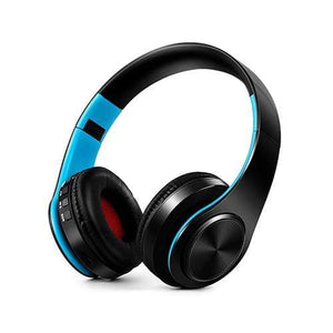 Oiko Store  2Black blue New Portable Wireless Headphones Bluetooth Stereo Foldable Headset Audio Mp3 Adjustable Earphones with Mic for Music