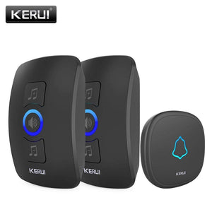 Oiko Store  2receiver 1doorbell-173 / EU Plug KERUI M525 Home Security Welcome Wireless Doorbell Smart Chimes Doorbell Alarm LED light 32 Songs with Waterproof Touch Button