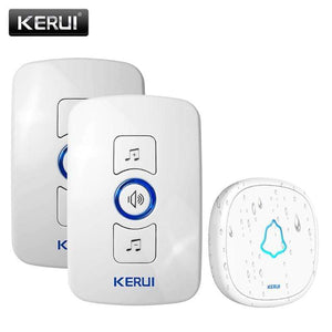 Oiko Store  2receiver 1doorbell-350853 / EU Plug KERUI M525 Home Security Welcome Wireless Doorbell Smart Chimes Doorbell Alarm LED light 32 Songs with Waterproof Touch Button