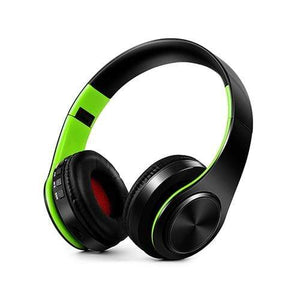 Oiko Store  3Black green New Portable Wireless Headphones Bluetooth Stereo Foldable Headset Audio Mp3 Adjustable Earphones with Mic for Music