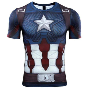 Oiko Store  3D Captain America T-shirt Cosplay Avengers Endgame Captain America Costume Avengers 4 Steve Rogers T-shirts Sport Tight Tees