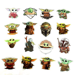Oiko Store  50PCS Baby Yoda Star Wars The Mandalorian Stickers for DIY Laptop Skateboard Home Decoration Car Scooter PVC Decals Sticker Toy