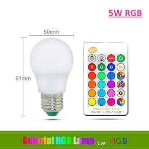 Oiko Store  5W RGB / Yes 110V 220V E27 RGB LED Bulb Lights 5W 10W 15W RGB Lampada Changeable Colorful RGBW LED Lamp With IR Remote Control+Memory Mode