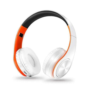 Oiko Store  6white orange New Portable Wireless Headphones Bluetooth Stereo Foldable Headset Audio Mp3 Adjustable Earphones with Mic for Music