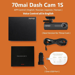 Oiko Store  70mai Cam 1S / No TF Card 70mai Car DVR 1S APP & English Voice Control 70mai 1S 1080P HD Night Vision 70 MAI 1S Car Camera Recorder WiFi 70mai Dash Cam 1S