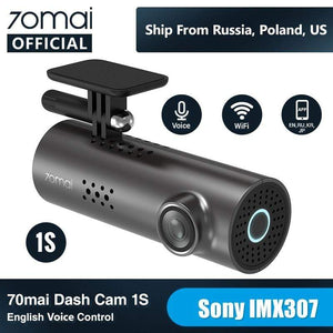 Oiko Store  70mai Car DVR 1S APP & English Voice Control 70mai 1S 1080P HD Night Vision 70 MAI 1S Car Camera Recorder WiFi 70mai Dash Cam 1S