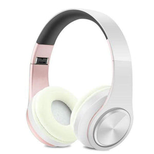 Oiko Store  8rose white New Portable Wireless Headphones Bluetooth Stereo Foldable Headset Audio Mp3 Adjustable Earphones with Mic for Music
