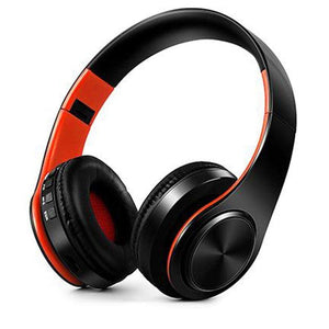 Oiko Store  9 black Orange New Portable Wireless Headphones Bluetooth Stereo Foldable Headset Audio Mp3 Adjustable Earphones with Mic for Music