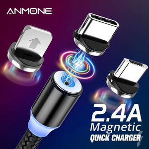 Oiko Store  ANMONE Magnetic Cable Micro USB Type C Magnetic Charge Charger Cable for iPhone Huawei Samsung Android Mobile Phone 2m cable