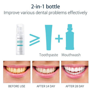 Oiko Store  BAIMISS Fresh Shining Tooth-Cleaning Mousse Toothpaste Teeth Whitening Oral Hygiene Removes Plaque Stains Bad Breath Dental Tool