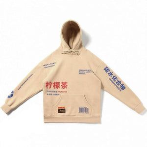 Oiko Store  Beige / S China style Sweatshirts hooded hoodies Hip Hop Skateboard letters print Beige drawstring Autumn Winter Pullover hoody free ship