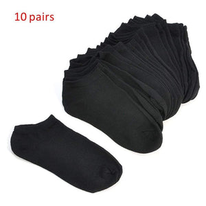 Oiko Store  Black 10 Pairs Women Socks Breathable Sports socks Solid Color Boat socks Comfortable Cotton Ankle Socks White Black ~