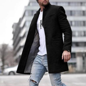Oiko Store  Black / M Autumn Fashion Thin Wool Coat Men Plus Size Spring 2020 Outwear Black Warm Men's Long Blazer Coats Office Overcoat Coats 4XL