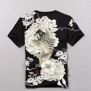 Oiko Store  Black / M Tshirt Hot Sale T Shirt Men Quality Goods Embroidery With Short Carp Tattoo Short-sleeved O-neck Cotton Casual 2019 New Arrival