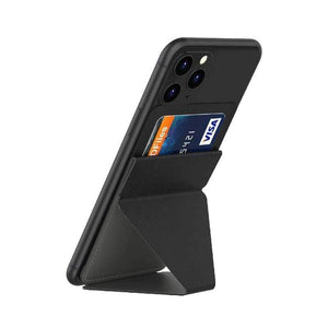 Oiko Store  Black Ultra thin Phone Stand Folding Invisible Holder Magnetic Back Mount With Card Slot Mobile Phone Stand For iPhone Huawei Samsung
