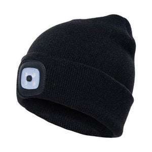 Oiko Store  Black Unisex Outdoor Cycling Hiking LED Light Knitted Hat Winter Elastic Beanie Cap