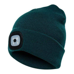 Oiko Store  Blackish Green Unisex Outdoor Cycling Hiking LED Light Knitted Hat Winter Elastic Beanie Cap