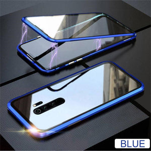 Oiko Store  Blue / For Redmi 8 Metal Magnetic Double side Glass Phone Case For Xiaomi Redmi 8 8A Note 8 7 K20 Pro Phone Cover For Mi 9 9e 9T CC9e 6X Flip Case