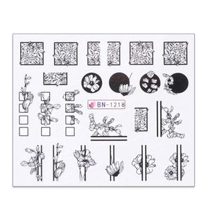 Oiko Store  BN1218 1 Sheet Black White Leaf Nail Art Sticker Slider Flower Water Decals Decor Watermark Tattoo Manicure Accessories LASTZ808-815-1