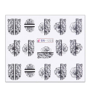 Oiko Store  BN1222 1 Sheet Black White Leaf Nail Art Sticker Slider Flower Water Decals Decor Watermark Tattoo Manicure Accessories LASTZ808-815-1