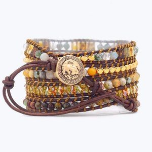 Oiko Store  Boho Handmade Bracelet Natural Stone Bracelet Vintage Leather Bracelet 5 Wrap Bracelet For Women and Gifts (Gold-color)