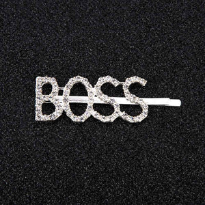 Oiko Store  BOSS 1Pc Shining Letter Hairpins Crystal Shiny Rhinestones Letters Hair Clips Women Styling Tool Hairgrip Diamond  Hair Accessories