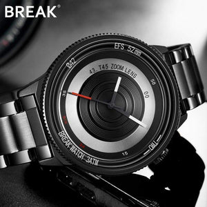 Oiko Store  BREAK Top Luxury Brand Men Women Unique Creative lovers Watches Casual Fashion Quartz Sport WristWatch Stainless Steel Strap