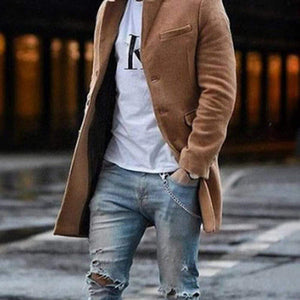 Oiko Store  Camel / M Autumn Fashion Thin Wool Coat Men Plus Size Spring 2020 Outwear Black Warm Men's Long Blazer Coats Office Overcoat Coats 4XL