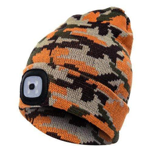 Oiko Store  Camouflage Golden Unisex Outdoor Cycling Hiking LED Light Knitted Hat Winter Elastic Beanie Cap