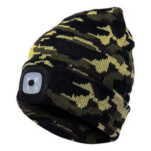 Oiko Store  Camouflage Green Unisex Outdoor Cycling Hiking LED Light Knitted Hat Winter Elastic Beanie Cap