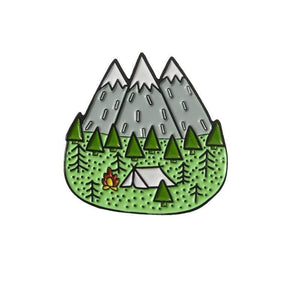 Oiko Store  camping Outdoors Mountain Starry Night Enamel Pin Custom Wild Camping Hiking Brooches Bag Clothes Lapel Pin Adventure Badge Jewelry Gift