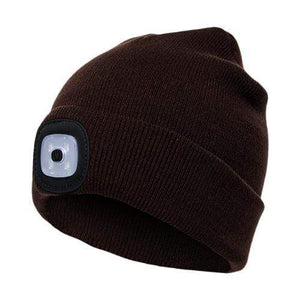 Oiko Store  Coffee Unisex Outdoor Cycling Hiking LED Light Knitted Hat Winter Elastic Beanie Cap