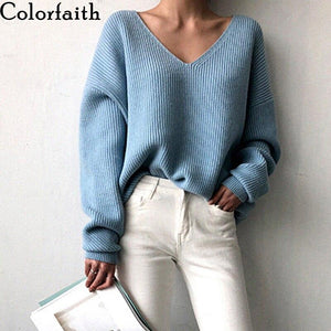 Oiko Store  Colorfaith New 2019 Autumn Winter Women's Sweaters V-Neck Minimalist Tops Fashionable Irregular Hem Knitting Casual Solid SW8112