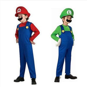 Oiko Store  Cosplay Adults and Kids Super Mario Bros Cosplay Dance Costume Set Children Halloween Party MARIO & LUIGI Costume for Kids Gifts