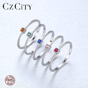 Oiko Store  CZCITY Genuine 925 Sterling Silver VVS Green Topaz Wedding Rings for Women Minimalist Thin Circle Gem Rings Jewelry Carving S925