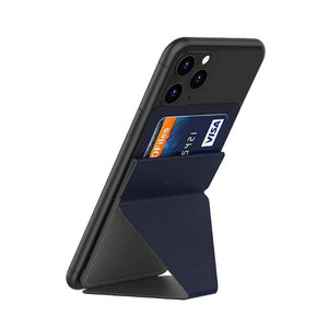 Oiko Store  Dark blue Ultra thin Phone Stand Folding Invisible Holder Magnetic Back Mount With Card Slot Mobile Phone Stand For iPhone Huawei Samsung