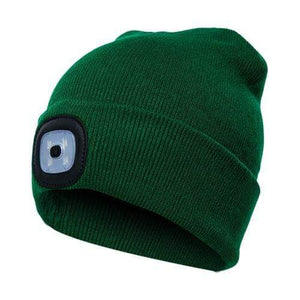 Oiko Store  Dark Green Unisex Outdoor Cycling Hiking LED Light Knitted Hat Winter Elastic Beanie Cap