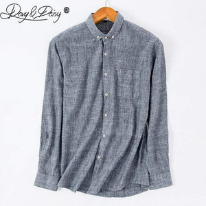 Oiko Store  DAVYDAISY 2019 High Quality Men Shirt Long Sleeve Cotton And Linen Turn-Down Collar Dress Solid Casual Shirt Men Camisas DS-240