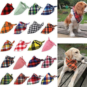 Oiko Store  Dog Bandana Cotton Plaid Washable Winter Pet Dog Bandanas Scarf Bow ties Collar Cat Small Middle Large Dog Grooming Products