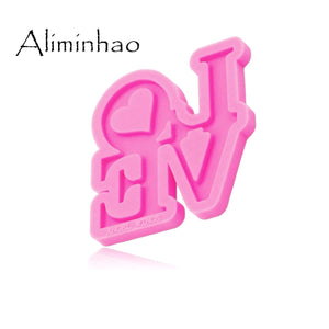 Oiko Store  DY0284 Shiny Love letter form Silicone Molds DIY epoxy resin molds Keychain silicone mold craft for Key ring decoration (DY0284 Pink)