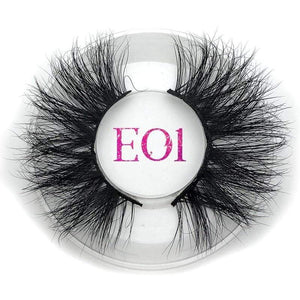 Oiko Store  E01 round case Mikiwi 25mm False Eyelashes Wholesale Thick Strip 25mm 3D Mink Lashes Custom Packaging Label Makeup Dramatic Long Mink Lashes