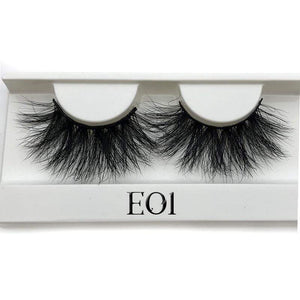 Oiko Store  E01 white tray Mikiwi 25mm False Eyelashes Wholesale Thick Strip 25mm 3D Mink Lashes Custom Packaging Label Makeup Dramatic Long Mink Lashes