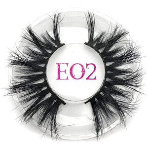 Oiko Store  E02 round case Mikiwi 25mm False Eyelashes Wholesale Thick Strip 25mm 3D Mink Lashes Custom Packaging Label Makeup Dramatic Long Mink Lashes
