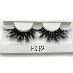 Oiko Store  E02 white tray Mikiwi 25mm False Eyelashes Wholesale Thick Strip 25mm 3D Mink Lashes Custom Packaging Label Makeup Dramatic Long Mink Lashes