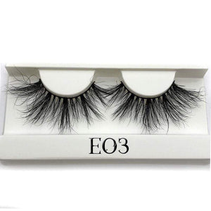 Oiko Store  E03 white tray Mikiwi 25mm False Eyelashes Wholesale Thick Strip 25mm 3D Mink Lashes Custom Packaging Label Makeup Dramatic Long Mink Lashes