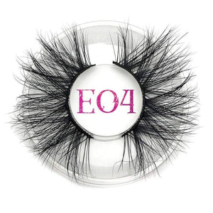 Oiko Store  E04 round case Mikiwi 25mm False Eyelashes Wholesale Thick Strip 25mm 3D Mink Lashes Custom Packaging Label Makeup Dramatic Long Mink Lashes